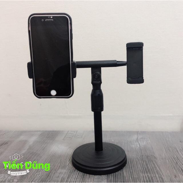 Giá đỡ điện thoại loại 2 điện thoại cao 25cm- kẹp điện thoại đôi để bạn tiện livestream