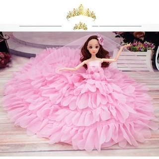 Búp Bê Hàn Quốc Cô Dâu Xinh Đẹp Váy Hồng Tặng Phụ Kiện Kèm Theo