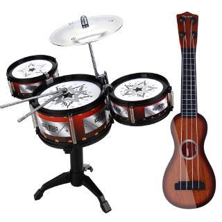 Mô phỏng Jazz Trống Nhạc cụ Đồ chơi cho trẻ em Bộ gõ Học tập sớm Nam và nữ Guitars Ảo Woodgrain Câu đố Dây thép Ukulele