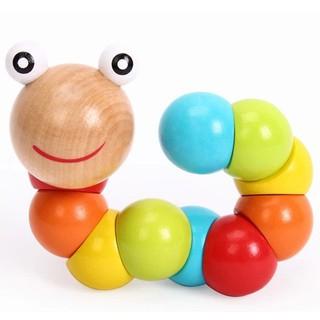 Đồ Chơi Độc Đáo   Đồ chơi con sâu gỗ uốn dẻo nhiều màu sắc đáng yêu cho bé     Mama Kid