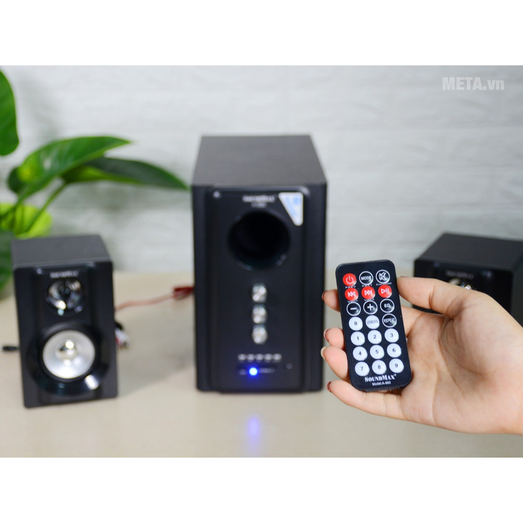 Loa 2.1 SOUNDMAX A980 Chính hãng (USB, Thẻ nhớ, Bluetooth, Remote) âm thanh cực hay bảo hành 12 tháng 1 đổi 1