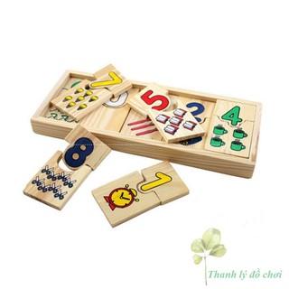 Hộp thẻ gỗ học đếm và ghép số lượng cho bé