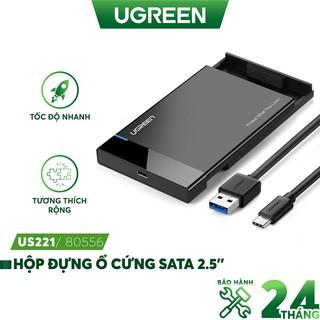 Hộp đựng ổ cứng 2.5inch SSD, HDD vỏ nhôm và vỏ nhựa cao cấp, hỗ trợ 6TB, chuẩn SATA III, SATA II UGREEN US221 CM300
