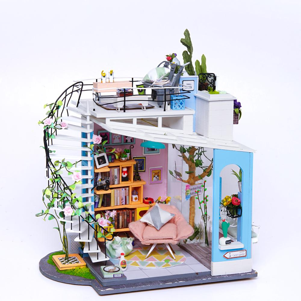 HW Robotime DIY Cottage House Hand-Assembled Creative Toy House Dora'S Loft