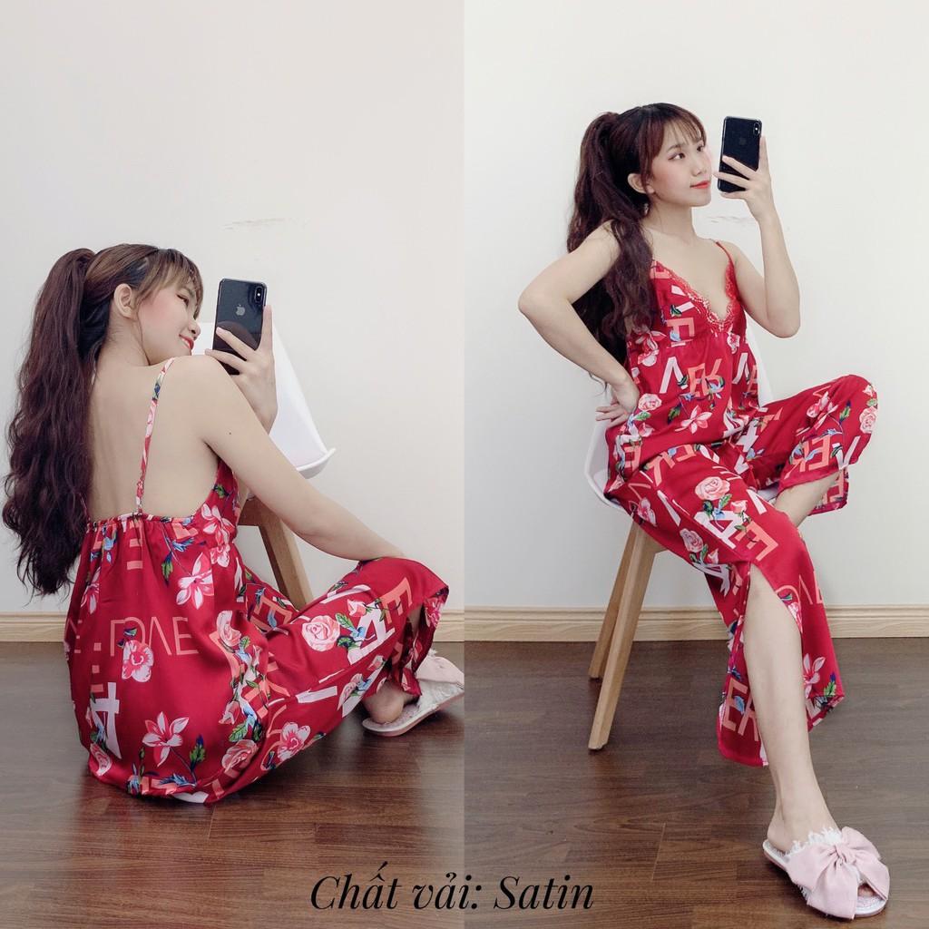 Đồ Mặc Nhà Nữ Pijama Lụa Quảng Châu 2 Dây Quần Dài Loại 1