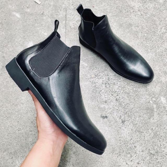Giày Chealsea Boot Classic da bò đen mờ