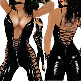 Women's Ladies Jumpsuit One piece Lingerie Plus size Casual Rompers Party Women's Faux leather Spaghetti strap
