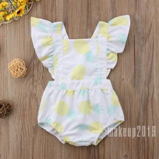 Mu♫-Pineapple Fly Sleeve Newborn Baby Boys Girls Romper Bodysuit Outfits Set Clothes