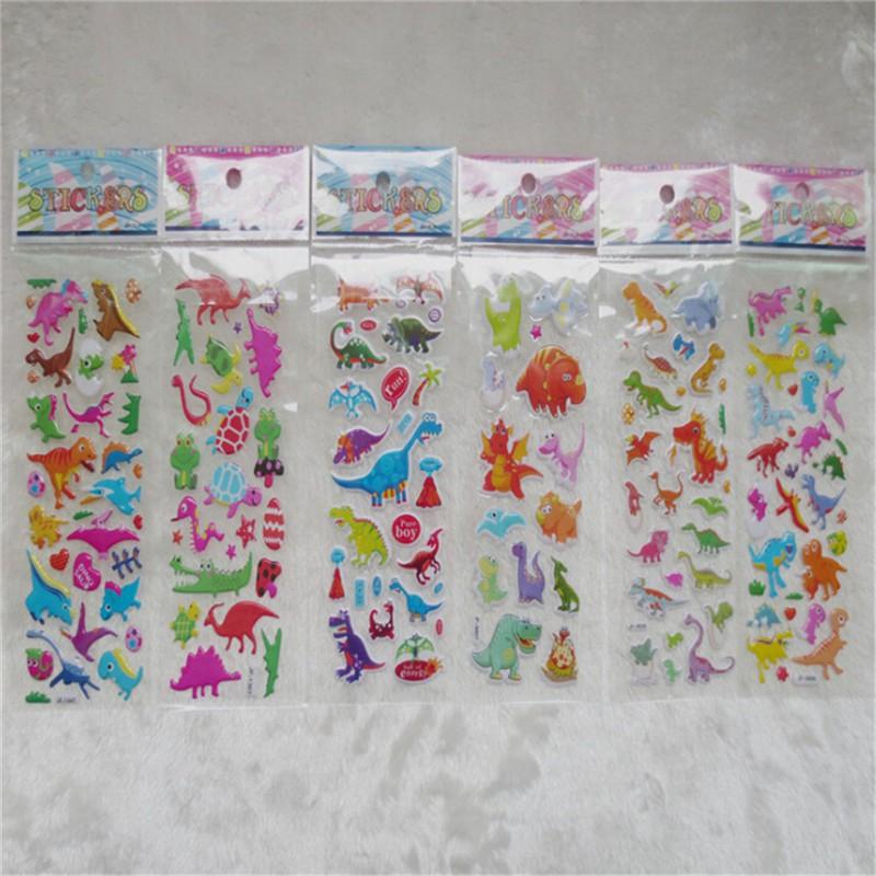 Specialhour 5 Sheets Cute Dinosaur Bubble PVC Stickers Cartoon Kids Classic Toys Stickers