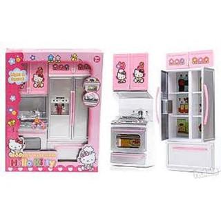 Đồ chơi nhà bếp 2 ngăn có tủ lạnh phát nhạc có đèn các cánh tủ đều mở ra được kèm nhiều đồ mini (kèm pin) thumbnail