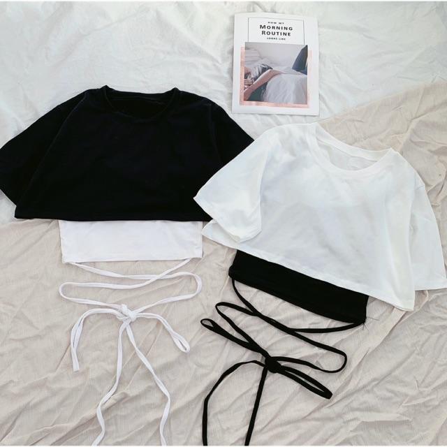 Set áo croptop nữ siêu hot hit mua 1 được 2 - freesize dưới 52kg- Carotshop