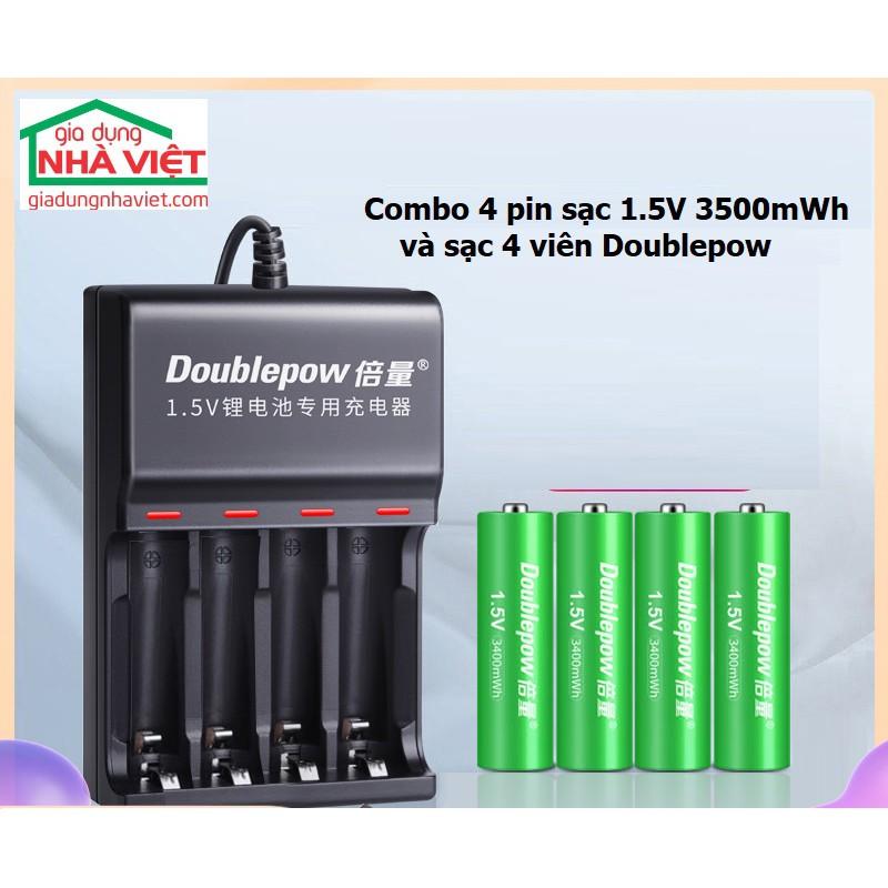 Combo 4 pin tiểu sạc Doublepow AA 1.5V 3400mWh và sạc 4 pin DP-L152 USB