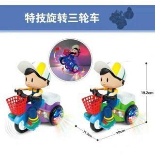 Đồ chơi bé đi xe đạp có đèn và nhạc xoay 360độ