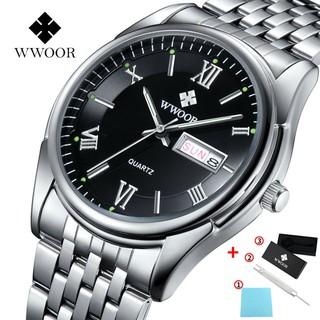 Đồng hồ thạch anh WWOOR 8802 chính hãng bằng inox chống nước phong cách thể thao hợp thời trang