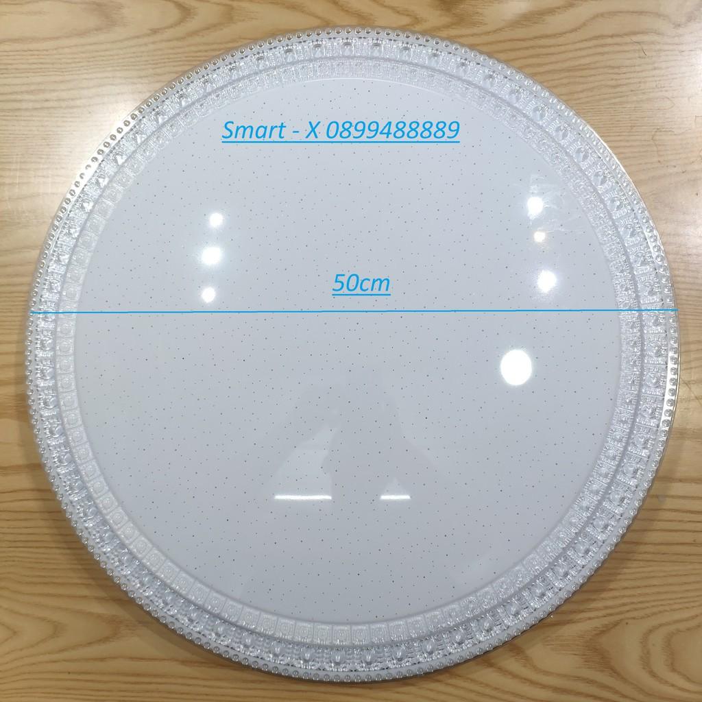 Đèn led mâm , lốp ốp nổi trần MICA trang trí 3 màu 3  chế độ , công suất 36W, dk 50cm