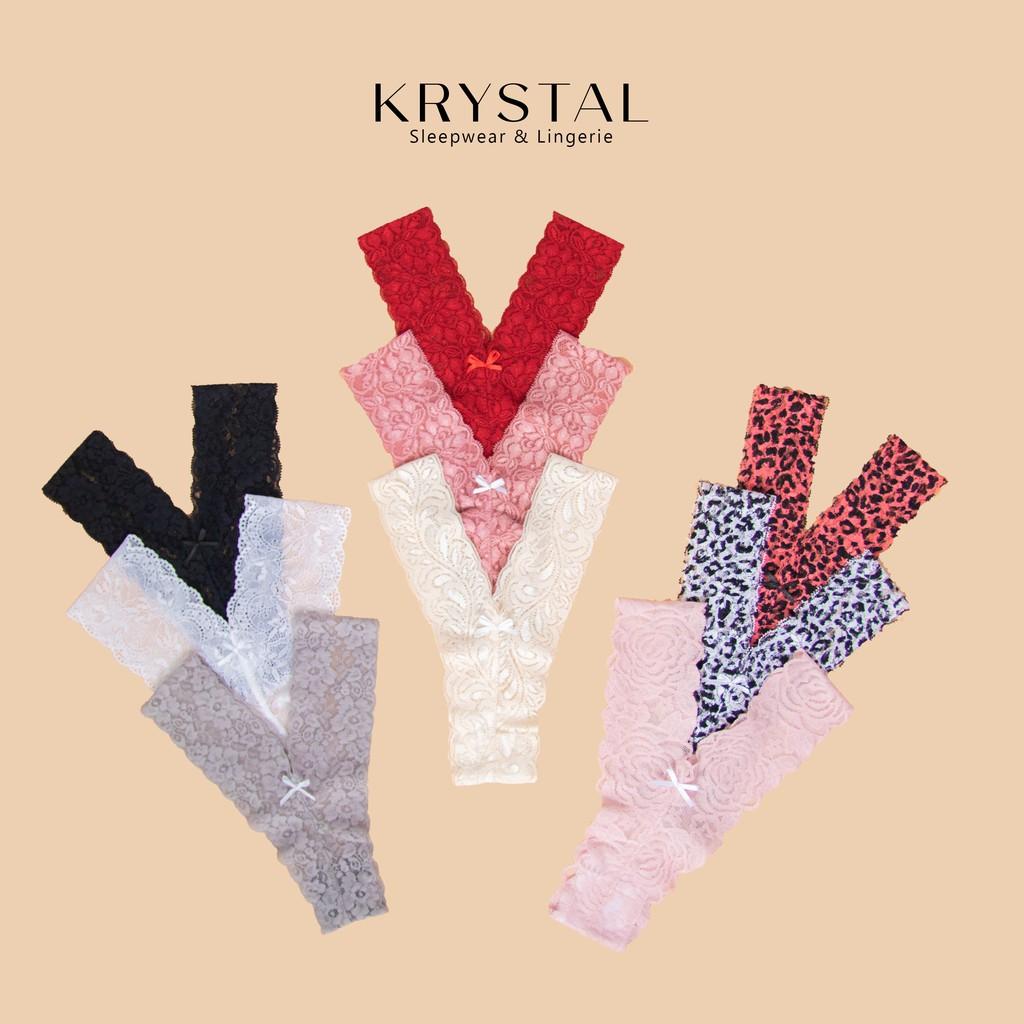 Quần lót ren lọt khe chữ Y sexy gợi cảm màu họa tiết KRYSTAL KQY05