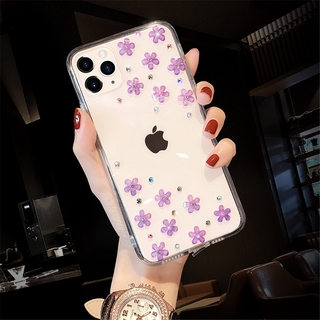 OPPO A91 Reno 5 4SE 4 3 Pro 2Z 2F 2 Z Realme 7 7i X7 6 5 Pro C12 C17 C15 C11 Diagonal stickers with scattered flowers transparent mobile phone cases