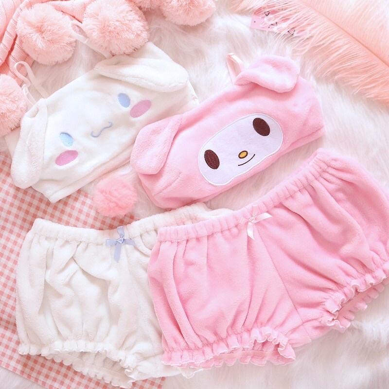 Bộ đồ ngủ hình gấu Cinnamoroll thỏ My Melody Kuromi Sanrio dễ thương hot hit