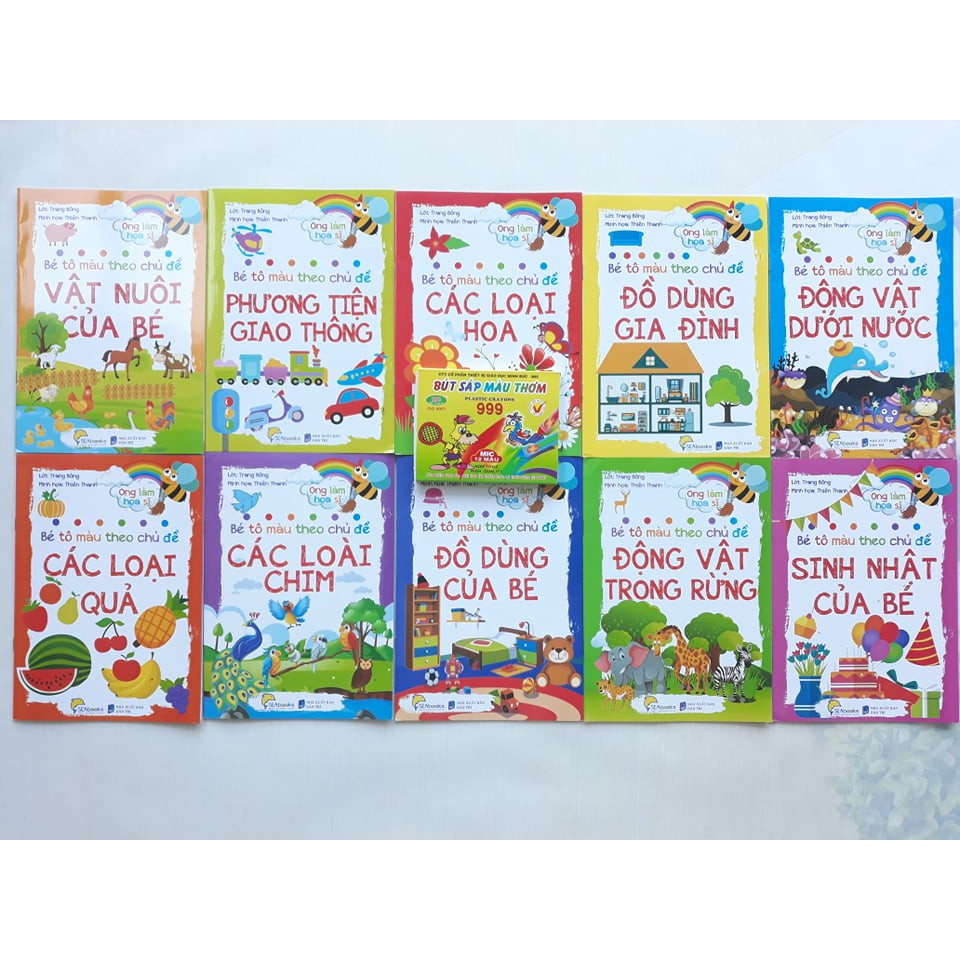 Sách - Combo 10 sách Bé Tô Màu tặng Hộp sáp 12 màu