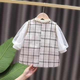 Set 2 Đầm Tay Dài Phồng Kiểu Hàn Quốc Xinh Xắn Cho Bé Gái