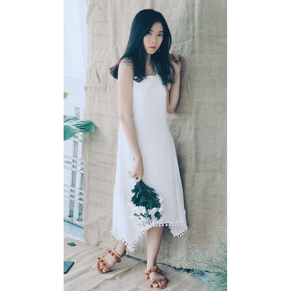 [BEE HOUSE STORE] Đầm maxi trắng đan dây lưng Suisen dress quyến rũ hàng thiết kế kèm ảnh thật