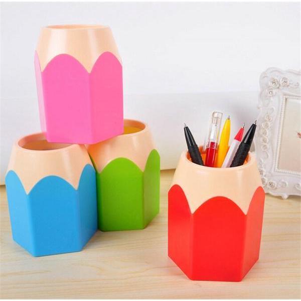 Popular Creative Pen Vase Pot Makeup Brush Holder Stationery Desk Tidy