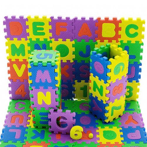 JQAIQ 36 Pcs Baby Kids Educational Alphanumeric Puzzle Mats Small Size Child Toy Gift