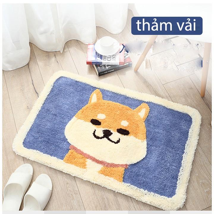 Thản lót hình cún đáng yêu,vải mềm nhẹ đẻ phòng khách, phòng tắm