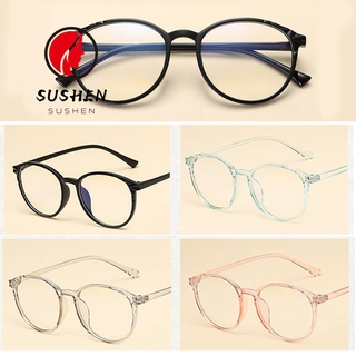SUSHEN Cool Vintage Eyeglasses Reduces Eye Strain Flat Mirror Eyewear Optical Eye Glasses Transparent Round Frame Ultralight High-definition Clear Lens Unisex Anti-Blue Rays/Multicolor