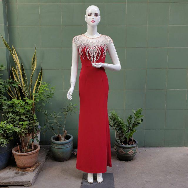 Đầm body dạ hội đính chuỗi tay cao cấp