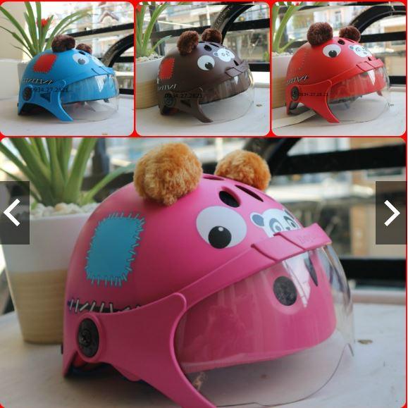 [CHÍNH HÃNG X- PRO] Mũ Bảo Hiểm Thể Thao Trẻ Em X Pro X120GK Hình Gấu CÓ KÍNH