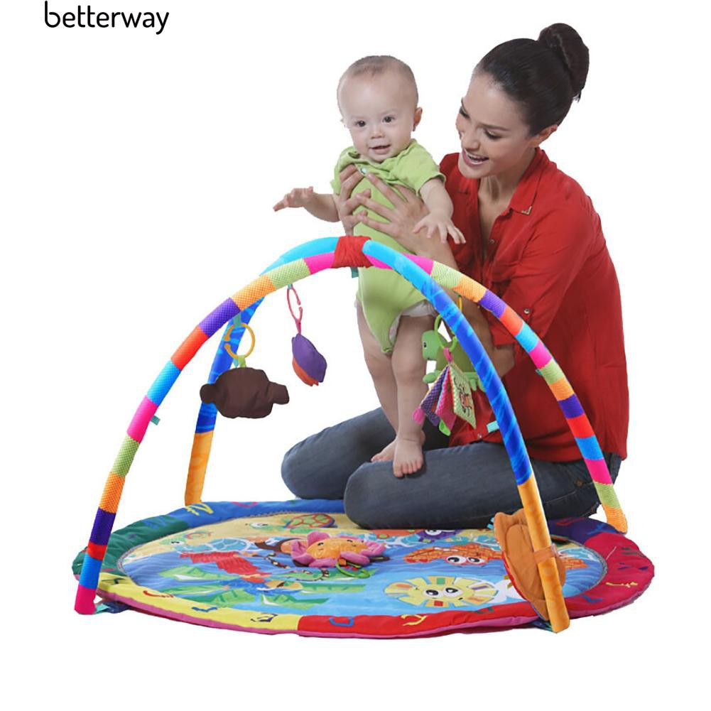 ☀Cartoon Baby Velvet Cloth Round Play Mat with Hanging Toy
