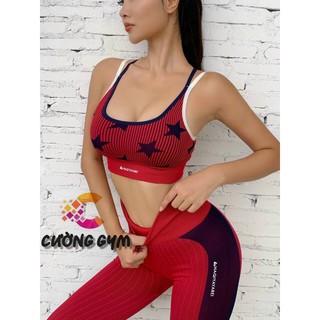 Bộ Tập Gym Yoga Nữ Bộ Quần Dài Áo Bra Naqi Sao Dệt Kim Cao Cấp Freeship