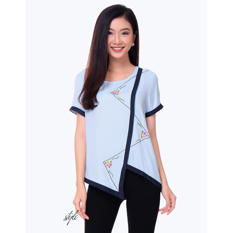 Áo Kiểu trung niên Thêu Phối Viền -678-TH An Thủy.xanh