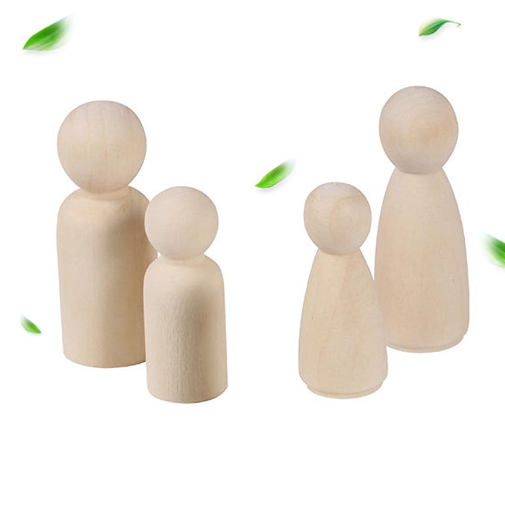 20 Pcs Natural Paint Wooden Doll Unfinished Kids Toy Female Peg Male Educational Hard