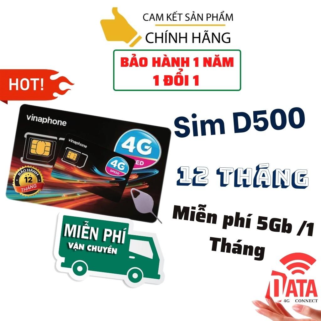 SIM D500 ( Miễn phí 1 năm vào mạng 4G Tốc Độ Cao )Có Video kèm test Tốc Độ Cao , Bảo Hành 12 Tháng