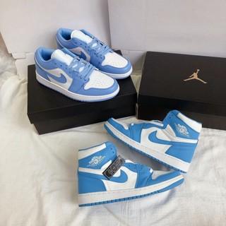 Giày Sneaker Air Jordan 1 Xanh Dương Cao Cấp Full Size Nam Nữ