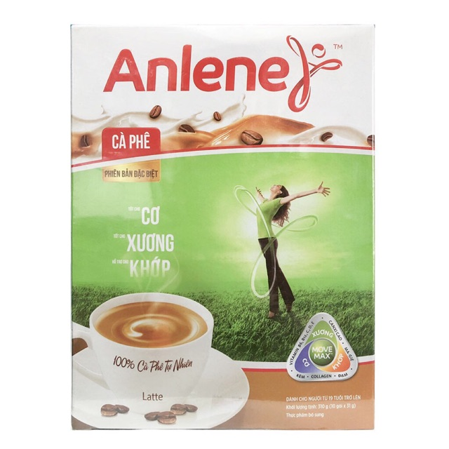 Sữa Anlene xanh cafe hộp giấy 310g