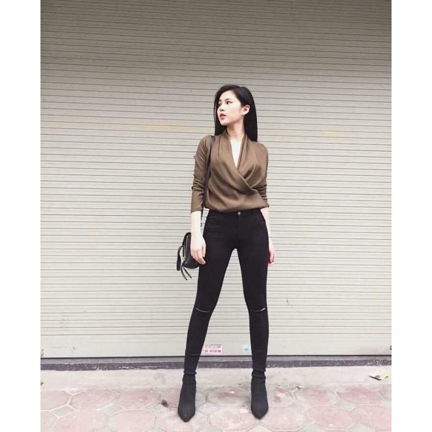 [Mã WASEPRN hoàn 20% xu đơn 99k] quần jean nữ đen rách ngang gối - lưng cao xịn 222