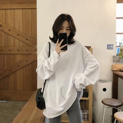 Áo thun tay dài màu trơn phong cách Hàn Quốc cá tính