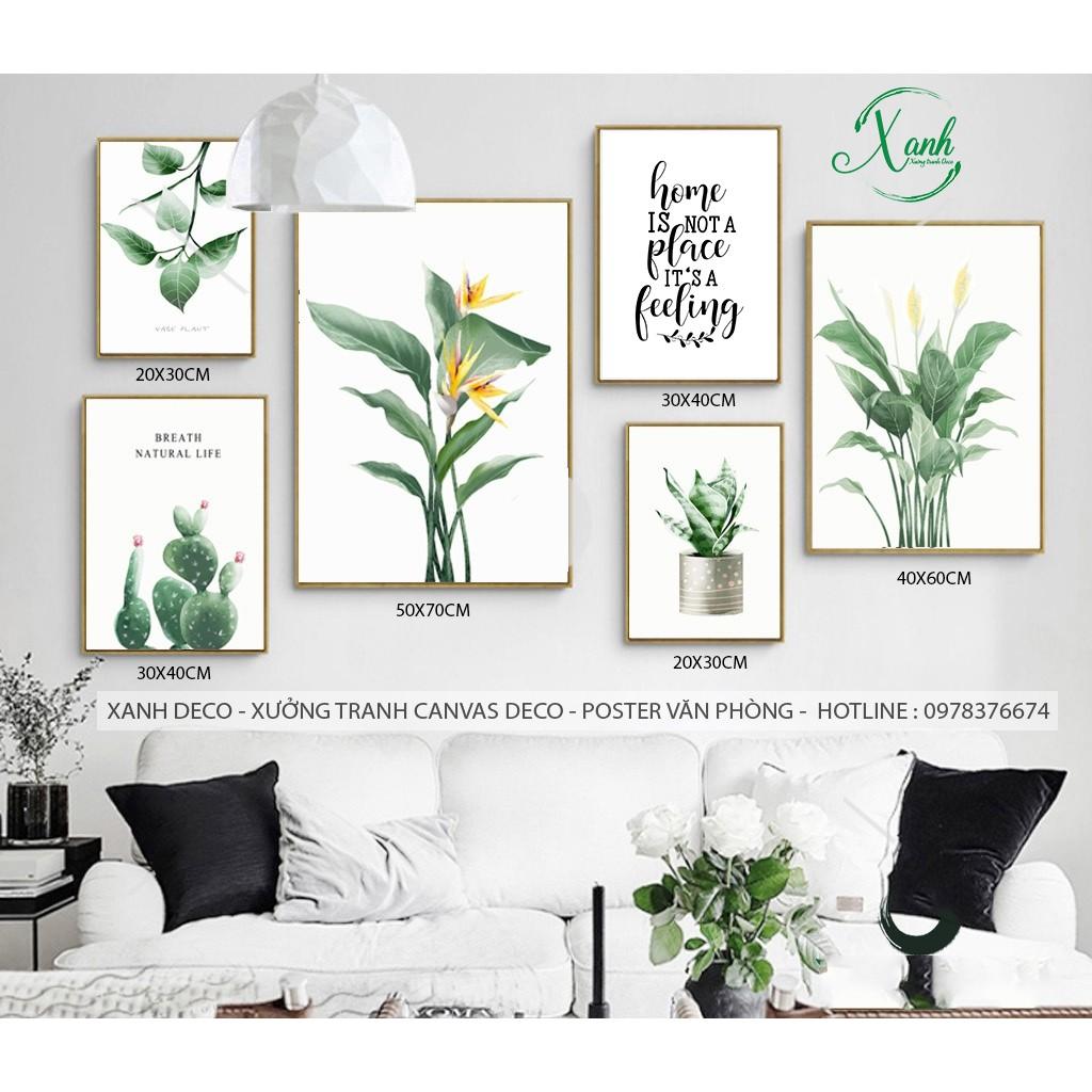 Bộ tranh canvas 6 bức lá và hoa nghệ thuật tặng đinh treo tranh không khoan tường