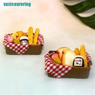 ❤1:12 Dollhouse Miniature Breakfast Set Bread Basket Doll House Food Accessories