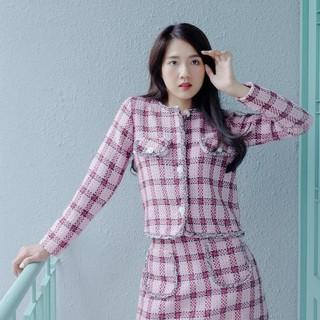 [Mã WABRED208 giảm 10% đơn 250K] Áo Hồng Vải Tweed Tay Dài EDINI - A1175 thumbnail