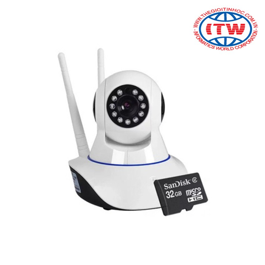 Camera quan sát IP wifi 2 râu HDPRO HDP-IP (Trắng) và thẻ nhớ 32GB