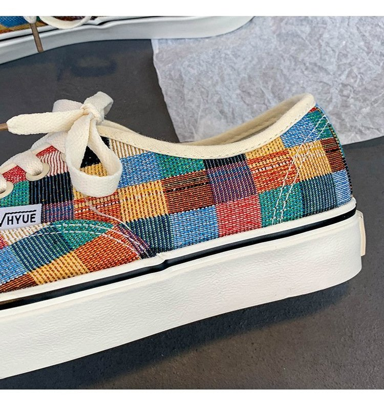 Giày Thể Thao Vải Buộc Dây Kẻ Sọc Caro Phong Cách Năng Động Thời Trang