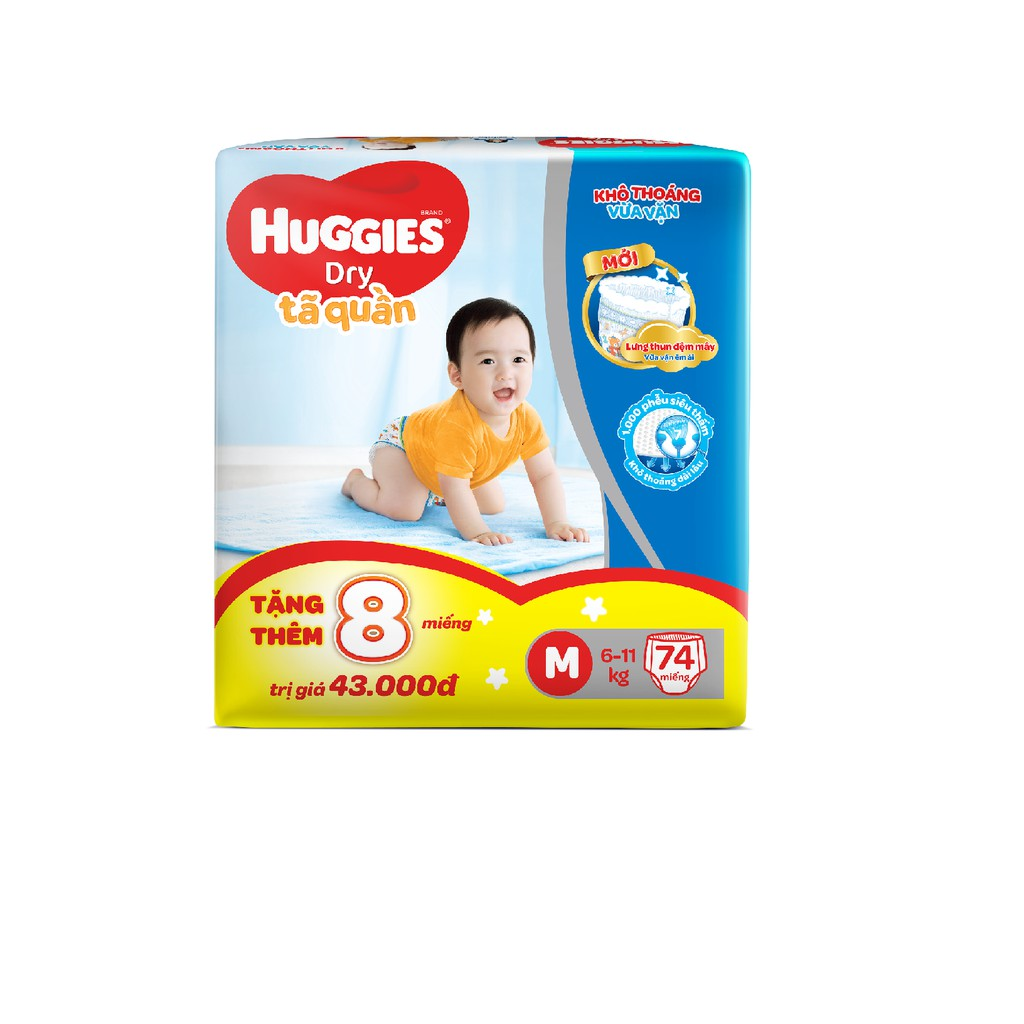 [Nhập MKBMHUG8P giảm 5% đơn từ 499K] [Tặng 8 miếng tã quần Huggies] Tã quần Huggies Pant Super Jumbo M74/L68/XL62/XXL56