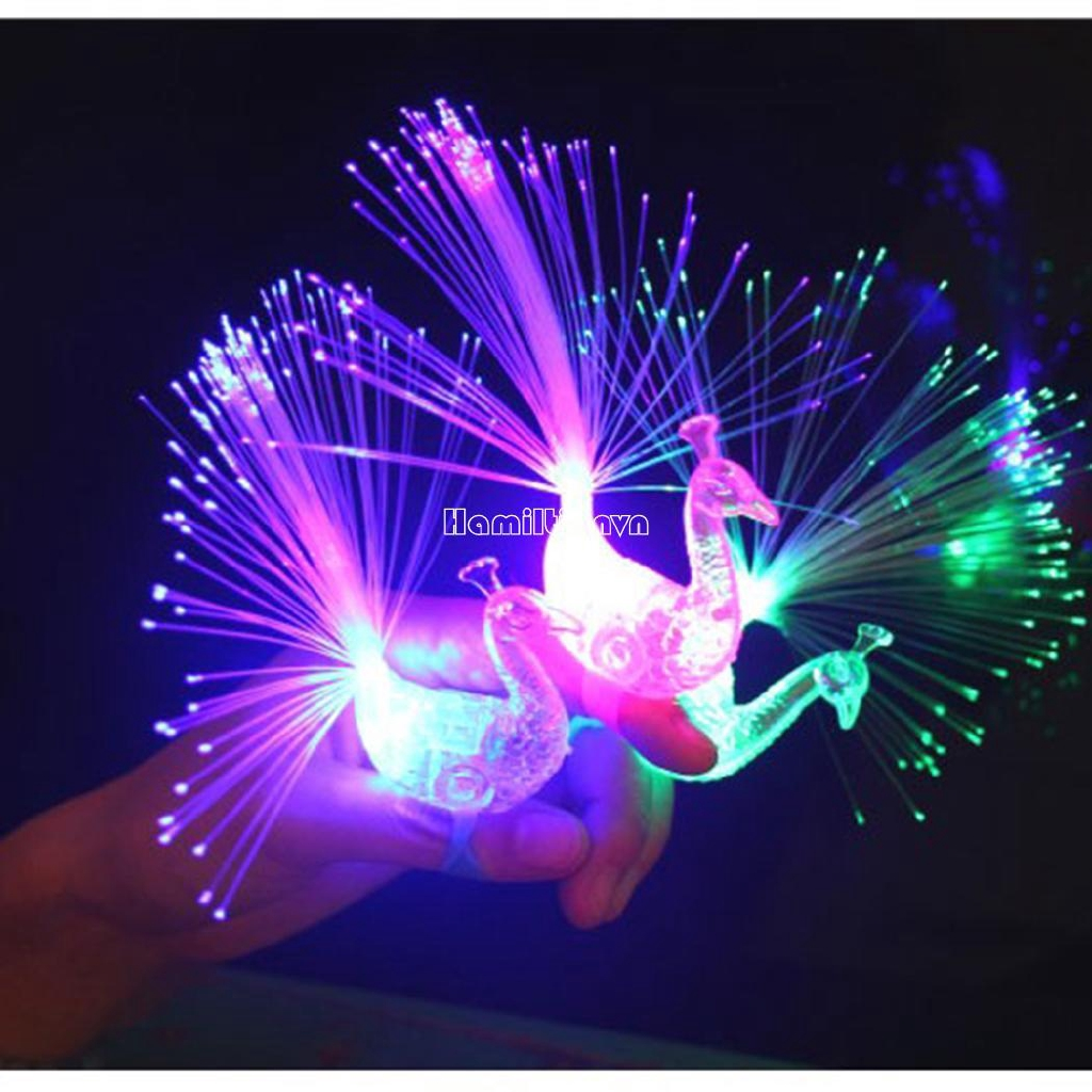 ❤COD Kids Baby Colorful LED Light-Up Peacock Shape Flashing Finger Ring Light Toy