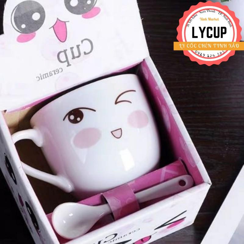 Cốc trà, cà phê gốm sứ hình mặt cười hoặc mèo thần tài