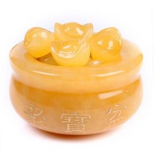 Bát vàng Bát Tụ Bảo ( Tụ Bảo Bồn ) Đá Ngọc Hoàng Long Chiêu Tài kích thước 10cm, không có đế gỗ