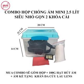 Combo hộp chống ẩm mini 2.5 lít dòng 2 khóa bảo quản máy ảnh film và mirroless (vừa 1 body + lens kèm theo) – MVN Studio